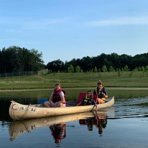 Campers in a canoe
