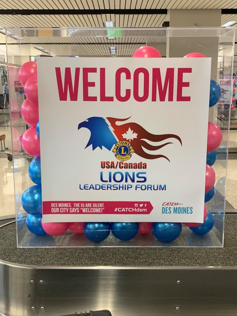 A sign at the Des Moines airport welcoming Lions to the Des Moines USA/Canada Lions Leadership Forum